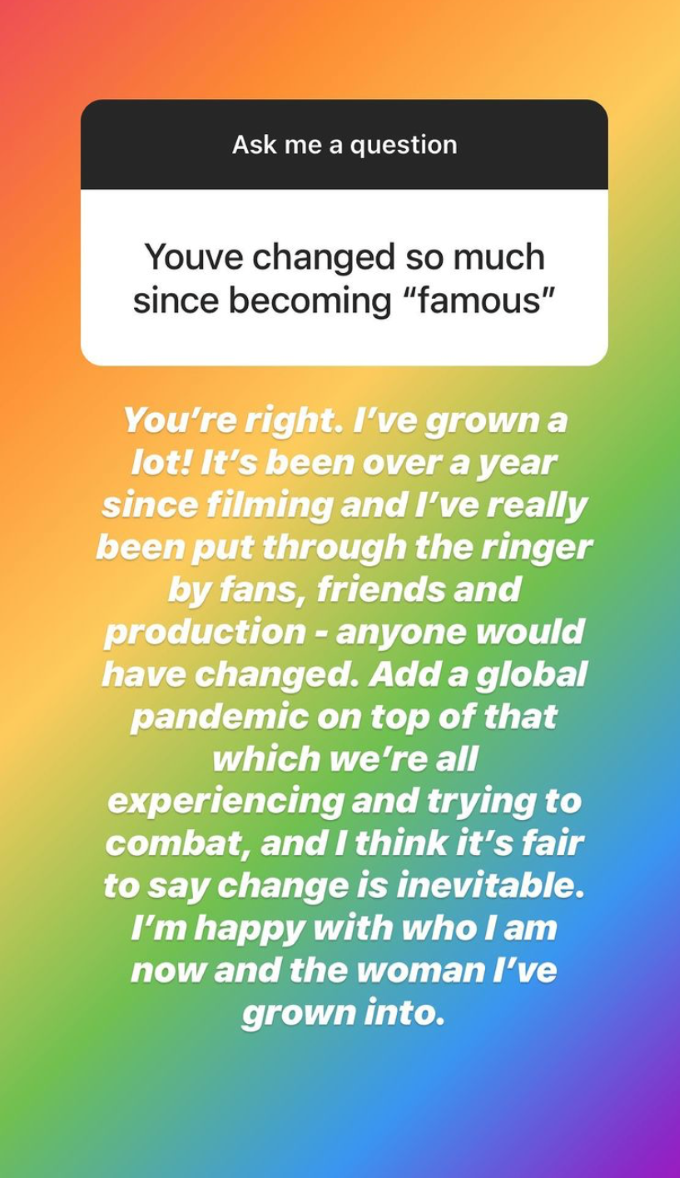 Screenshot from Erika Owen's Instagram Q&A