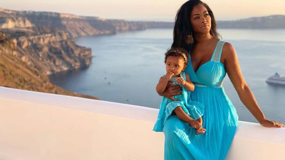 Kenya Moore poses for a picture taken during the RHOA girls' trip to Greece.