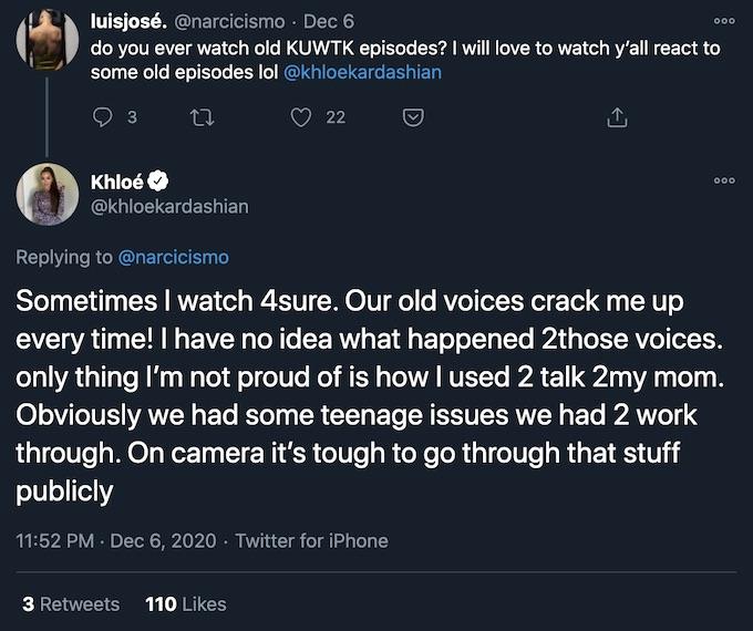 khloe kardashian replies to fan tweet