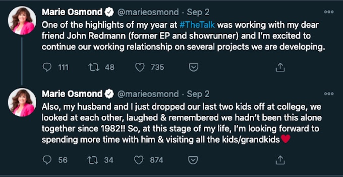 marie osmond tweets about the talk
