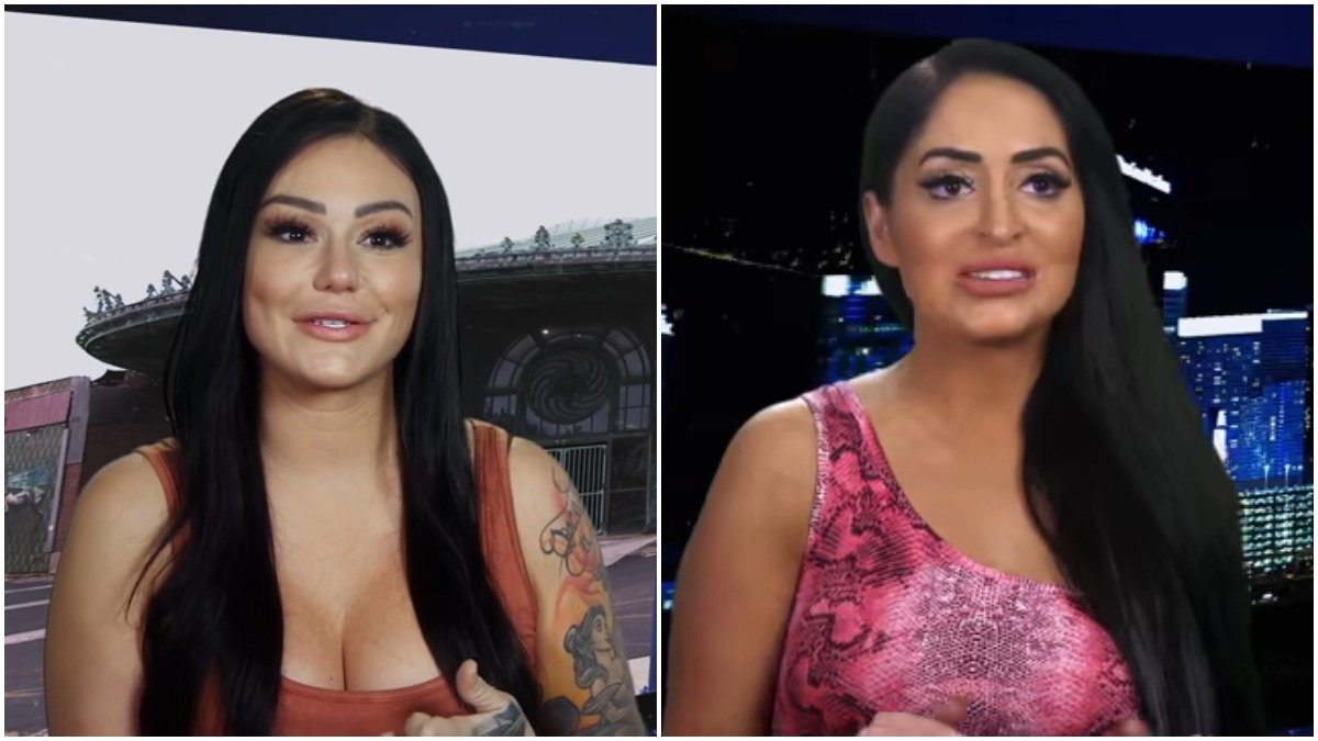 "Angelina Pivarnick and Jenni ""JWOWW"" Farley during an episode of Jersey Shore Family Vacation"