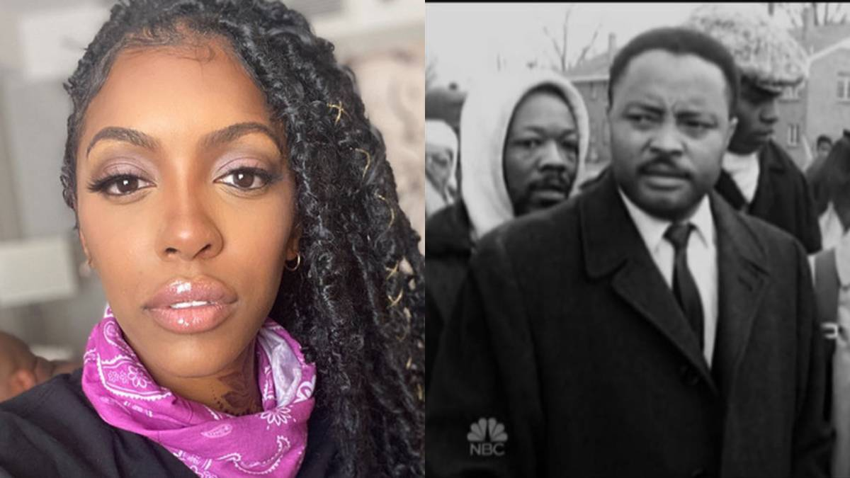 Porsha poses for a selfie as she protests for BLM side by side with her grandfather Hosea Williams at a protest.