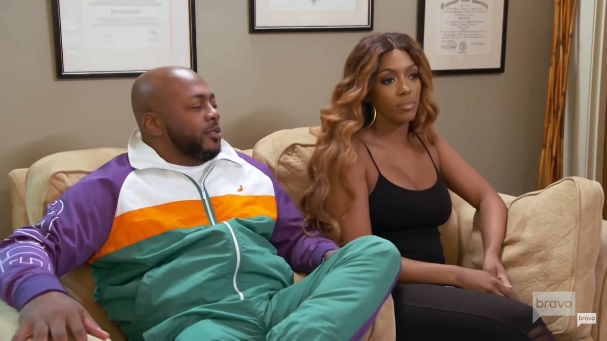 Porsha and Dennis McKinley film their therapy session for RHOA.
