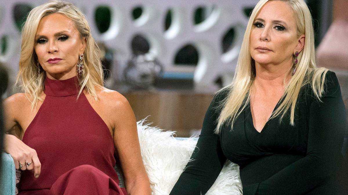Shannon Beador and Tamra Judge film for the RHOC reunion.
