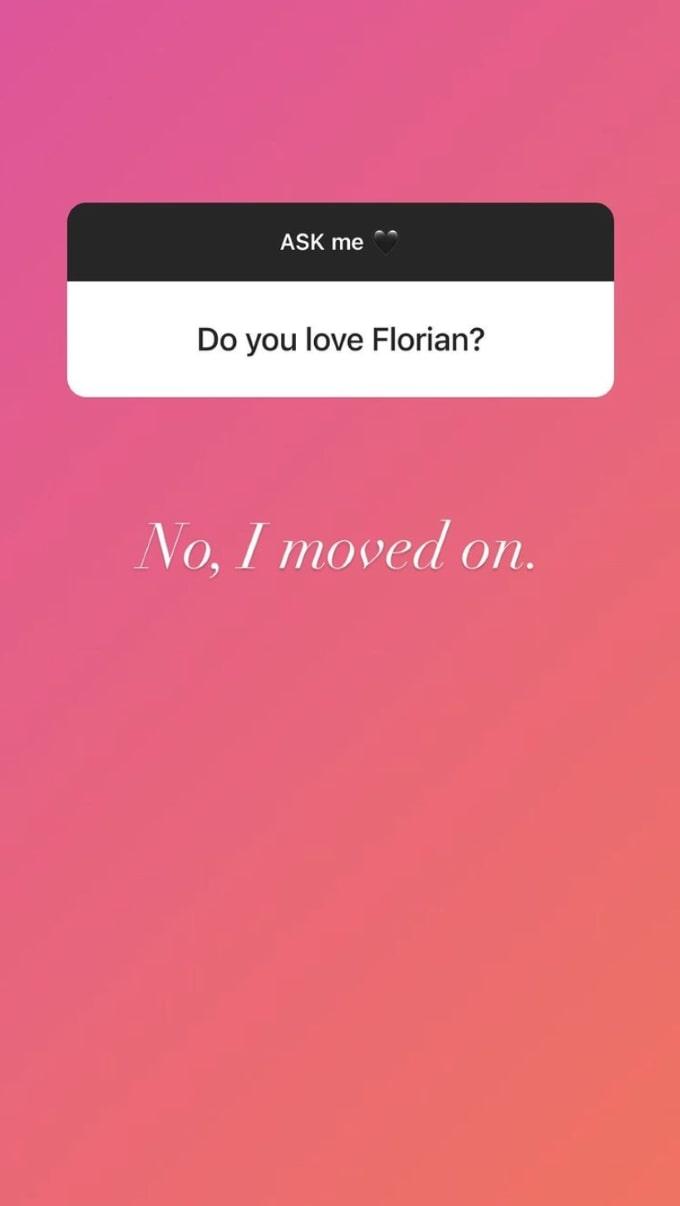 screenshot from Instagram Q&A with Florian Sukaj's mistress Shanti Zohra