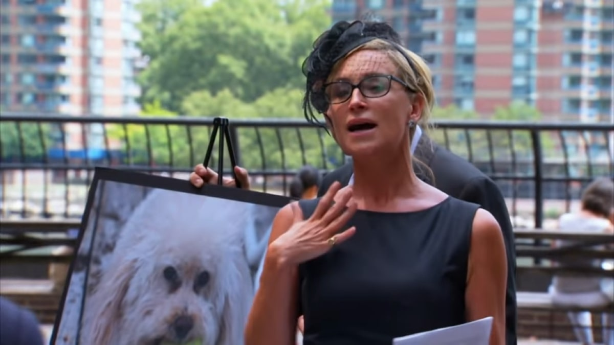 RHONY star Sonja Morgan at her dogs memorial service in Season 6.