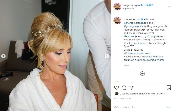RHONY star Sonja Morgan goes full glam for one of the reunions.