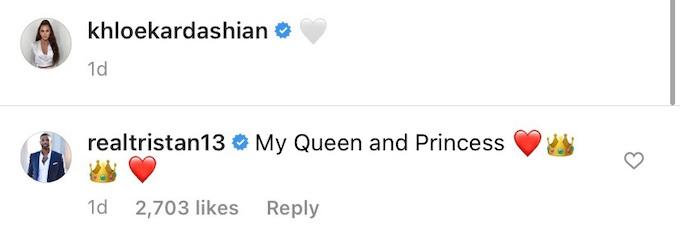 tristan thompson comments on khloe kardashian true ig post