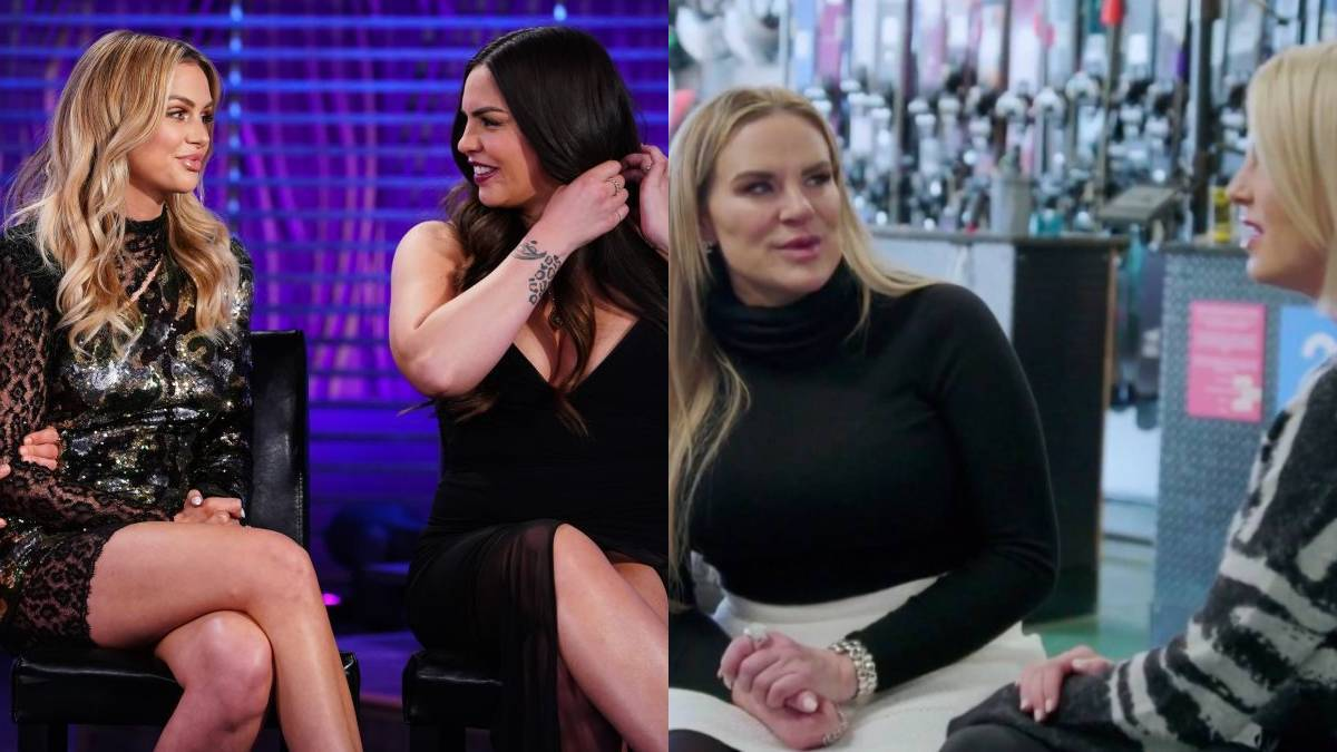 Lala and Katie talk while filming the Vanderpump Rules reunion and Heather and Whitney talk while filming RHOSLC.
