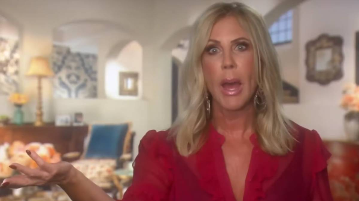 Vicki Gunvalson films a confessional interview for RHOC.