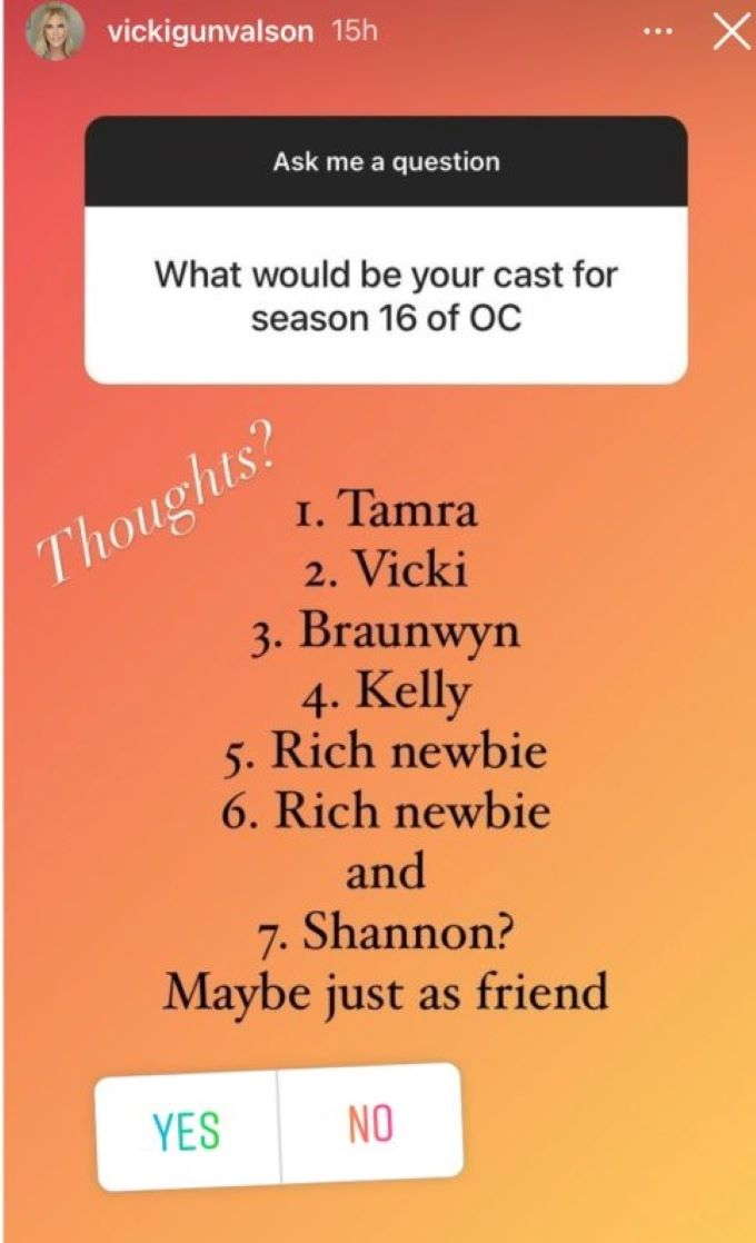 screenshot of fan question to Vicki Gunvalson asking her about her dream RHOC cast.