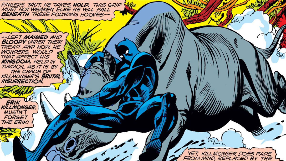 Black Panther fighting a Rhino