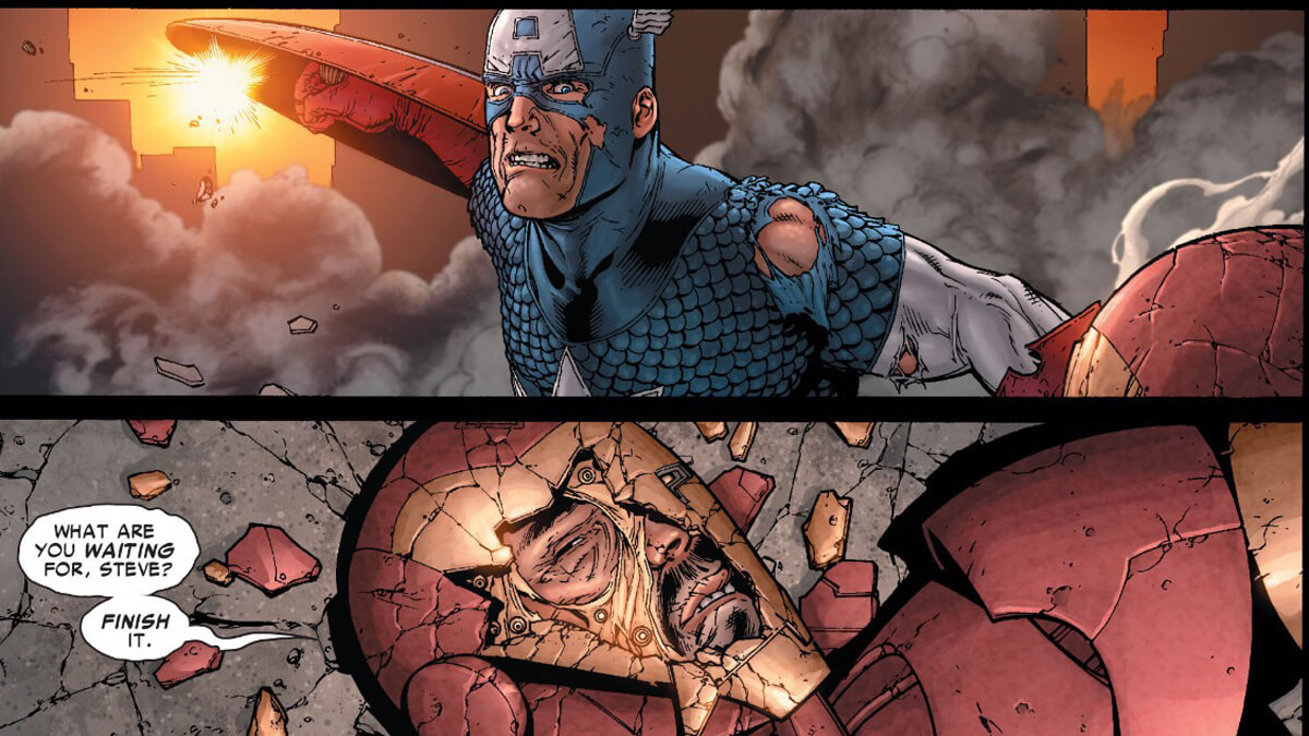 Cap vs Iron Man in Civil War 7