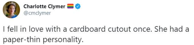 Fan jokes about dating cardboard cutout
