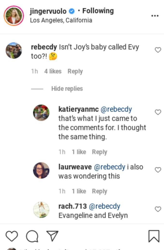 Jinger Duggar comments on Instagram.