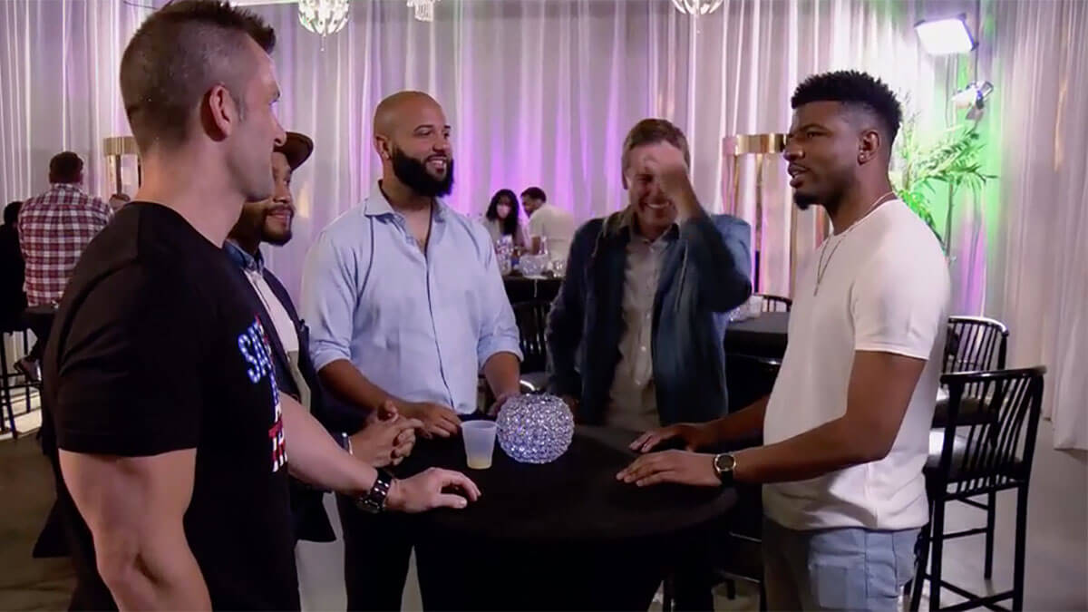 MAFS 12 Chris talking with the other grooms