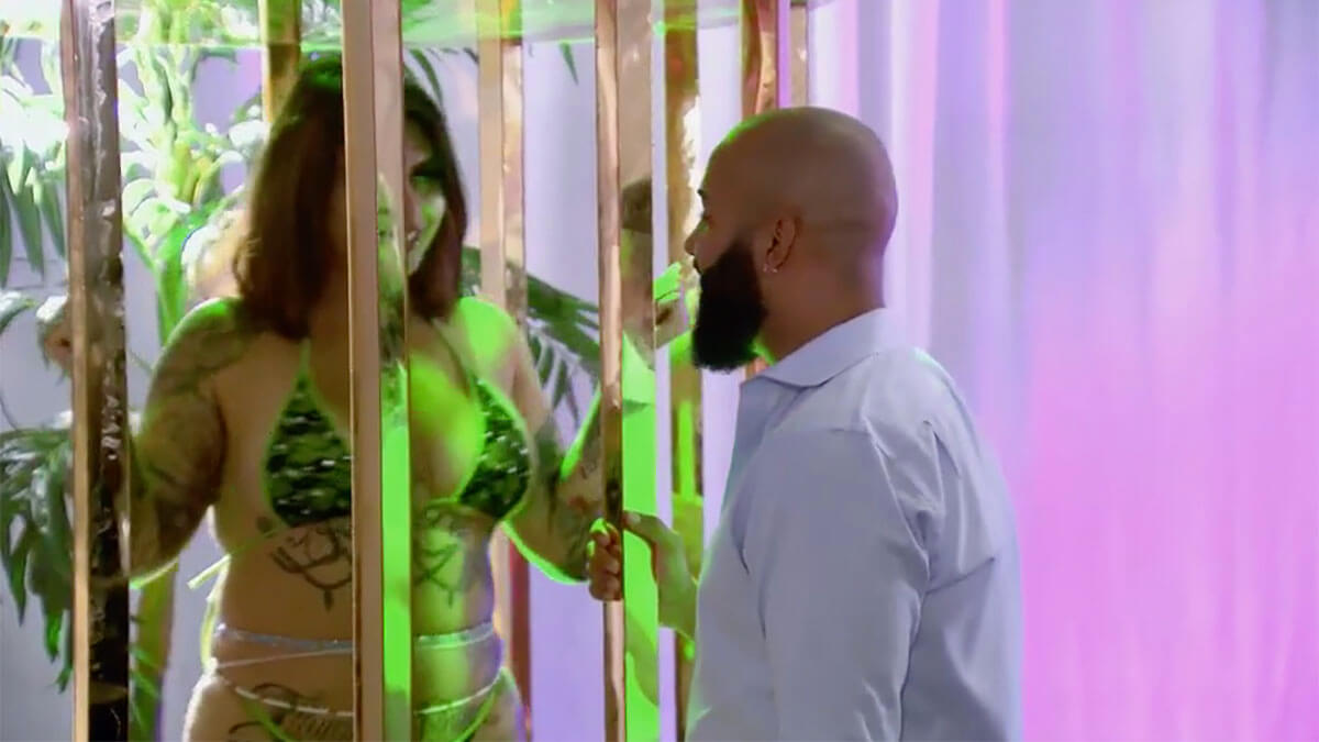 MAFS Season 12 Vincent talking to a stripper on bachelor party