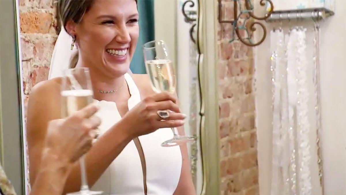 MAFS Season 12 Haley drinking champagne in her wedding dress