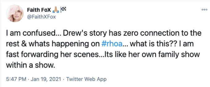 Twitter user is confused by Drew Sidora on the show