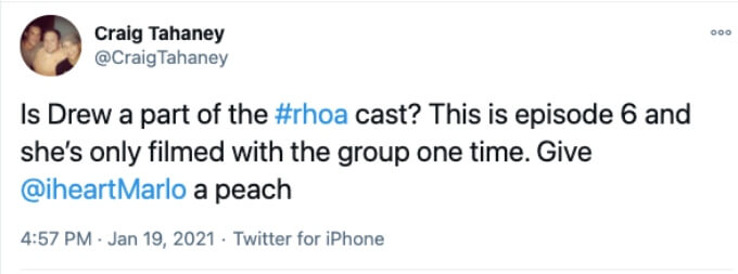 RHOA fan wants to know why Drew Sidora does not film with the group