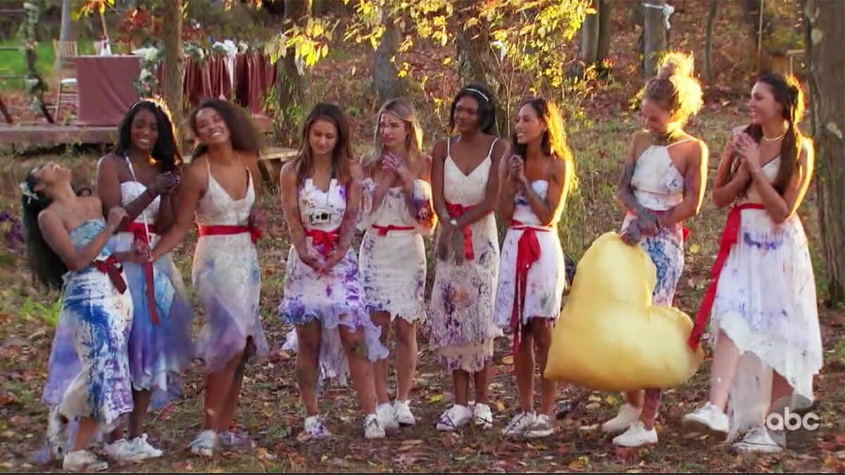 The Bachelor women dressed in wedding gowns