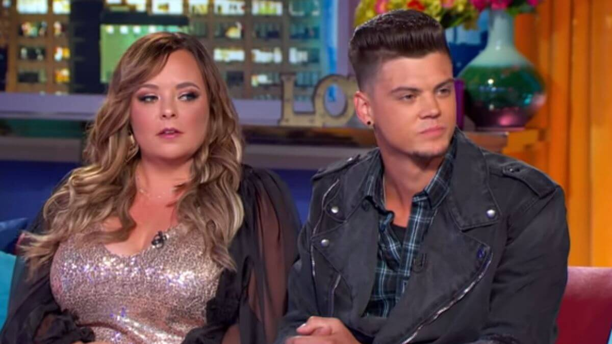 Catelynn Lowell and Tyler Baltierra during a Teen Mom OG reunion episode
