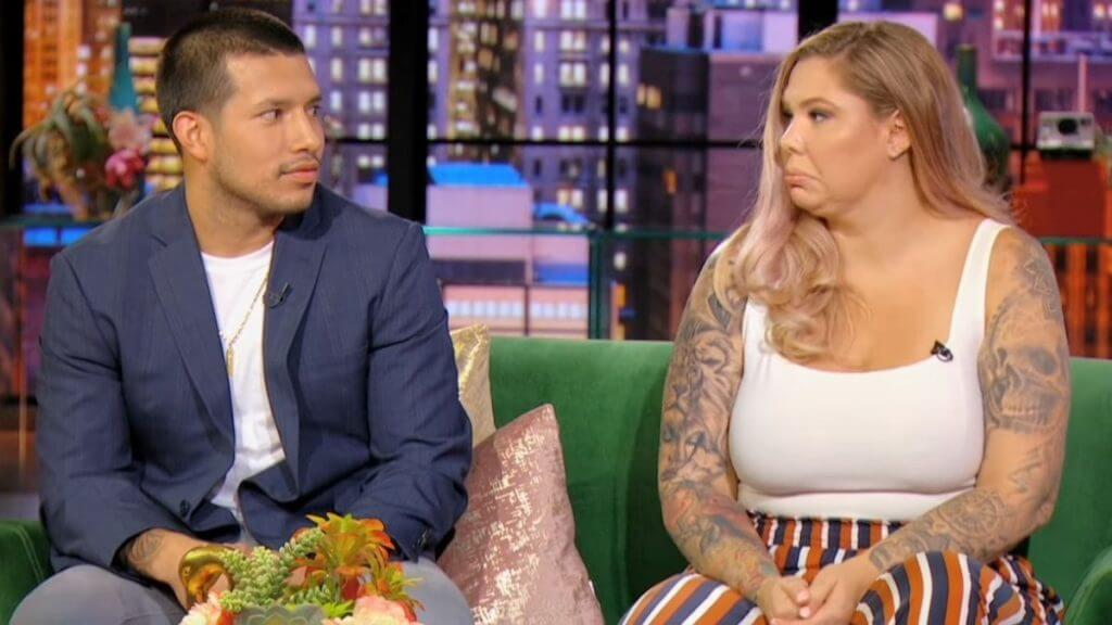 Javi Marroquin and Kail Lowry during a Teen Mom 2 reunion episode