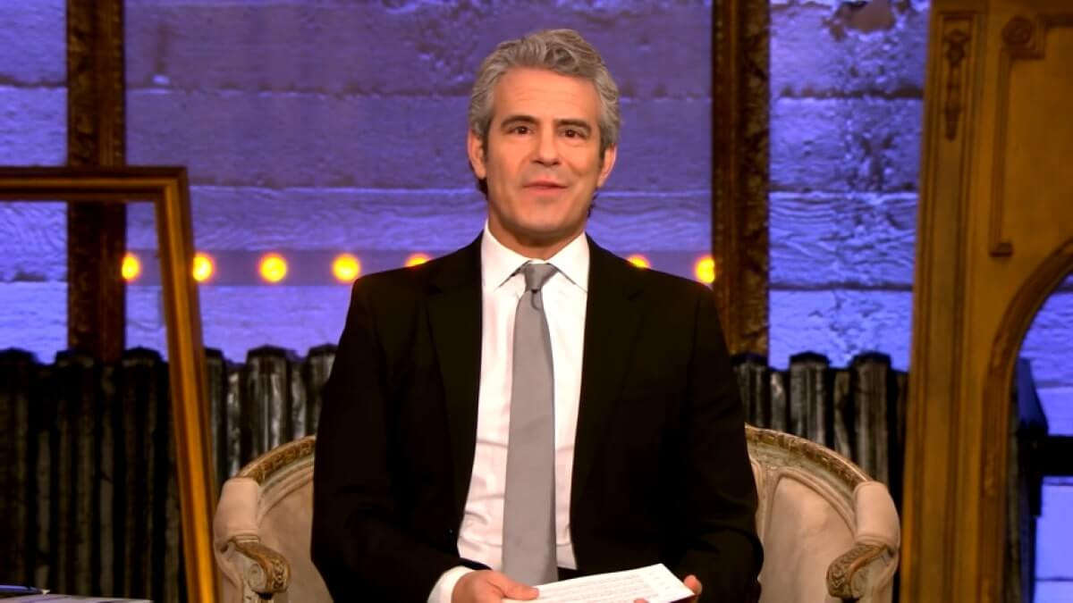 Andy Cohen hosting RHOC Season 15 reunion.