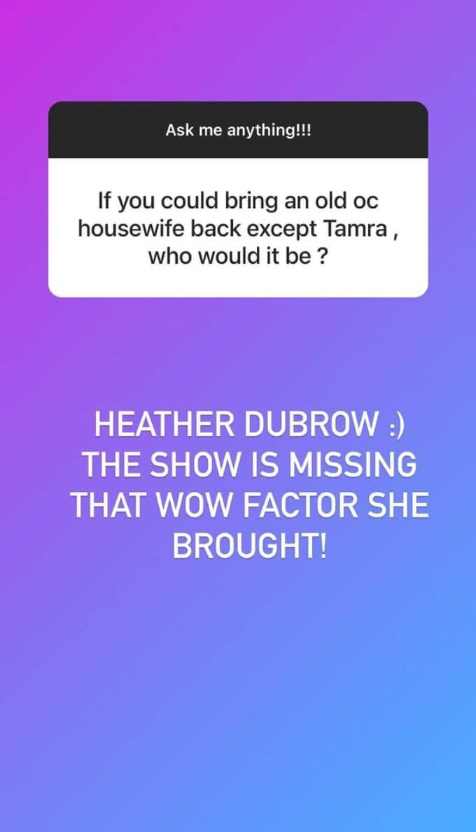 screenshot of Braunwyn's insta saying that she wants Heather Dubrow to make a RHOC comeback