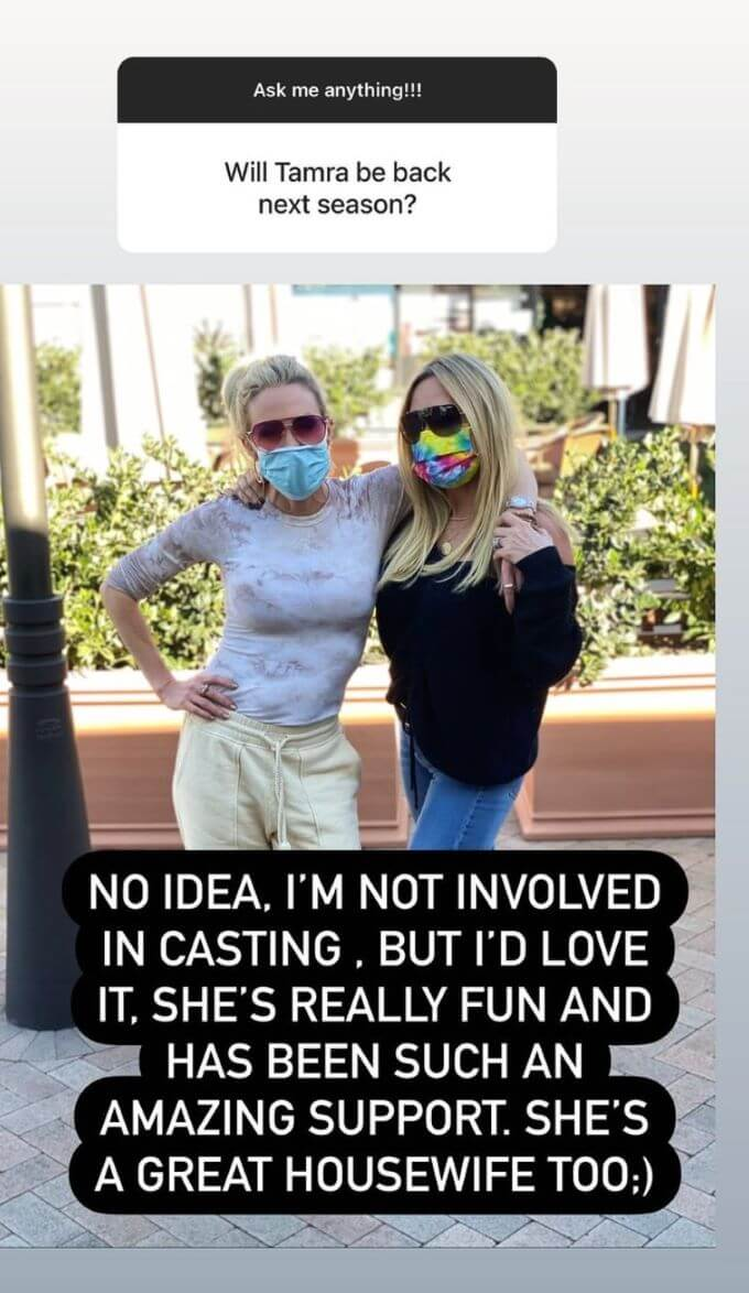 screenshot from Braunwyn's Instagram answering if Tamra would be back next season for RHOC.