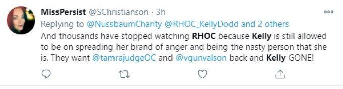 Screenshot of RHOC fan comment on Twitter