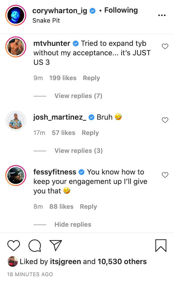cory wharton ig post comments fessy and hunter