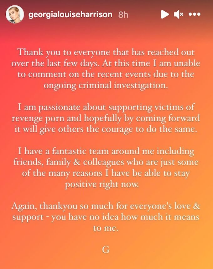 georgia harrison shares statement on instagram story