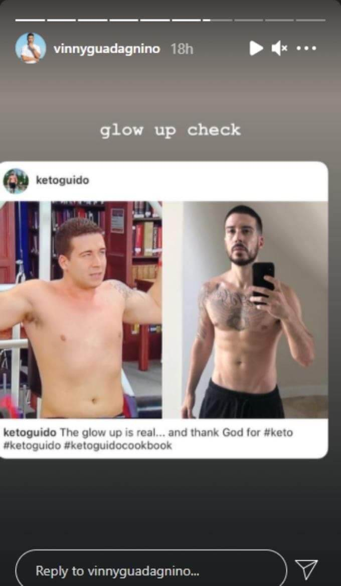 """Vinny Guadagnino shares his keto guido """"glow up"""" on his Instagram stories"""