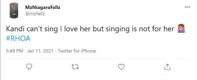 A fan slams Kandi Burruss' singing at Cynthia Bailey's engagement party.