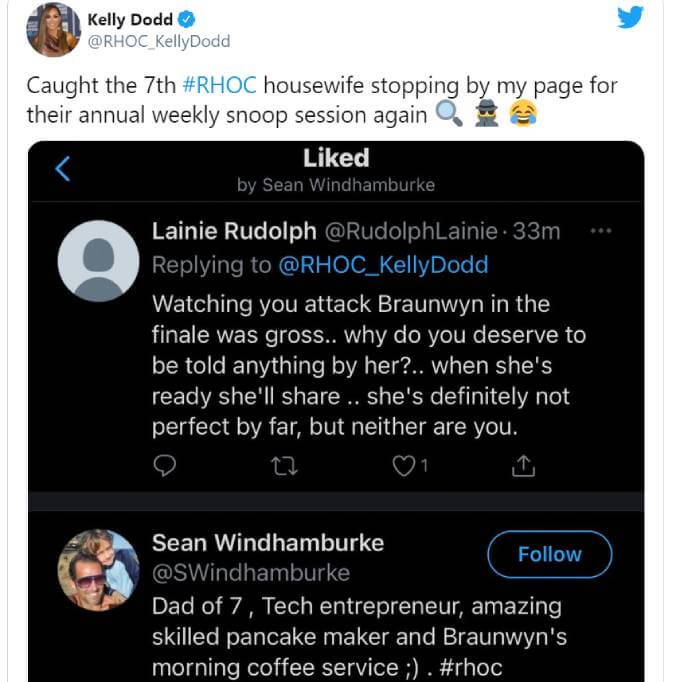 Kelly Dodd calls out Sean Burke on Twitter.