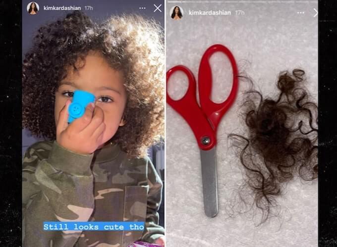 kim kardashian shares saint west haircut photos on instagram