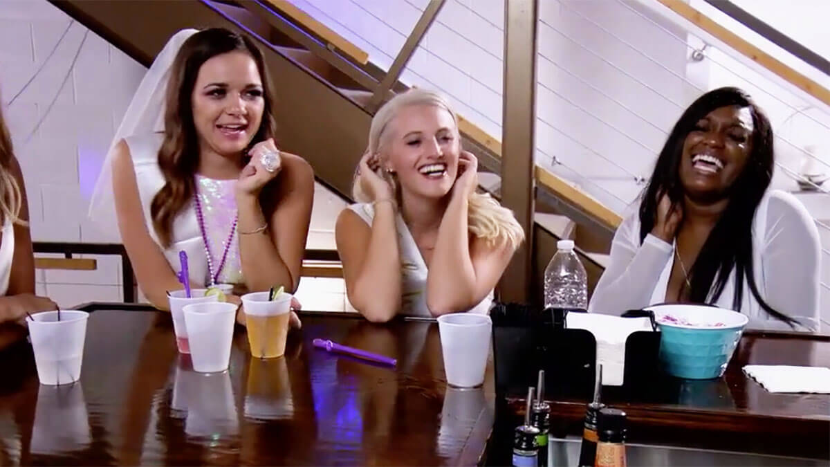 MAFS Season 12 ladies Virginia, Clara, and Paige laughing at bachelorette party