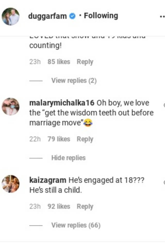 Comments on Duggar's IG post.