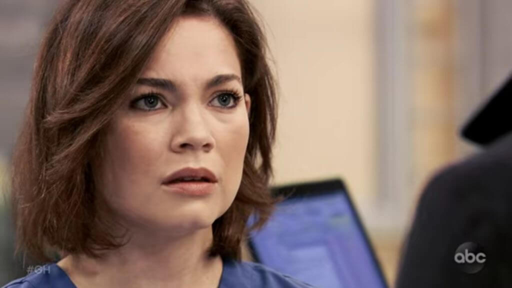 Rebecca Herbst as Liz on General Hospital.