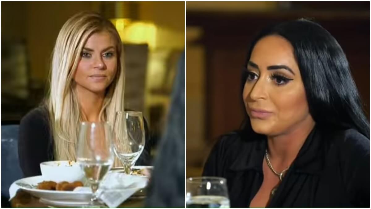 Angelina Pivarnick and Lauren Sorrentino sit down to dinner during an episode of Jersey Shore Family Vacation