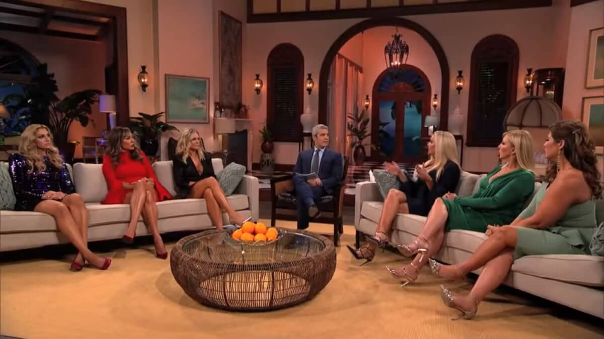 The RHOC cast during a reunion episode.