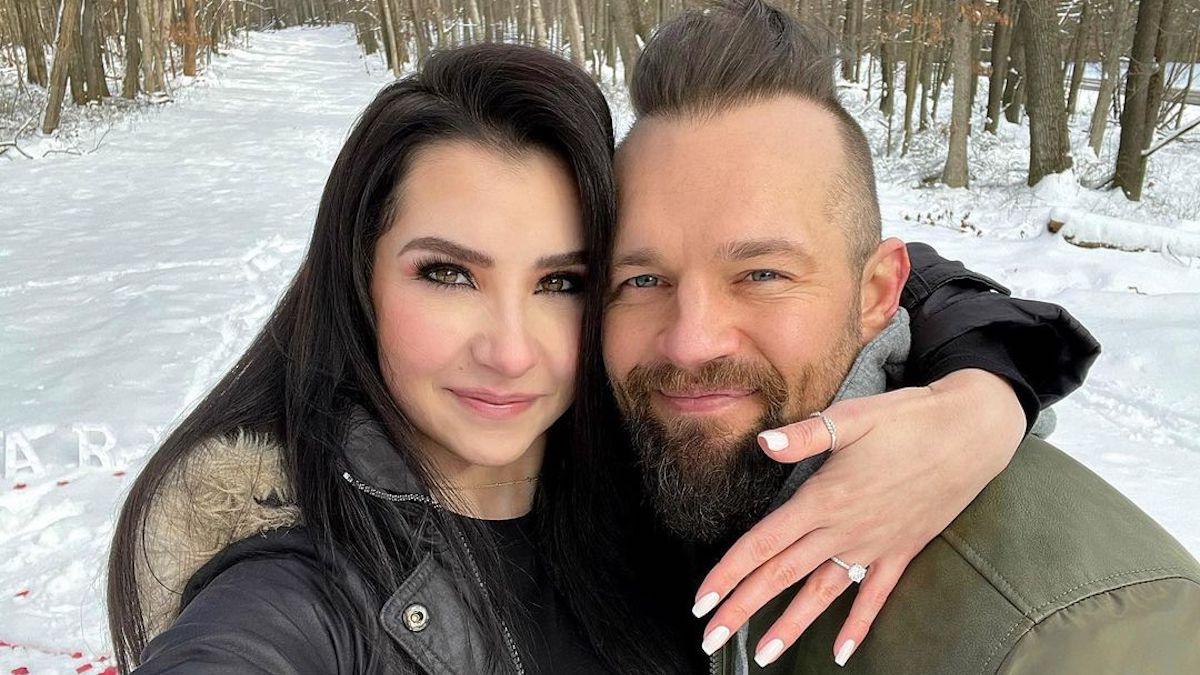 derrick kosinski and nicole gruman pose on instagram after proposal in west virginia