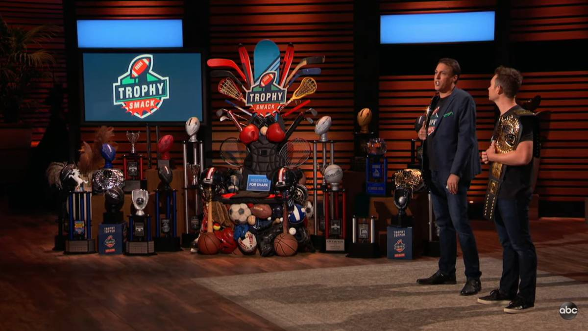 Matt Walsh and Dax Holt pitch TrophySmack on Shark Tank.