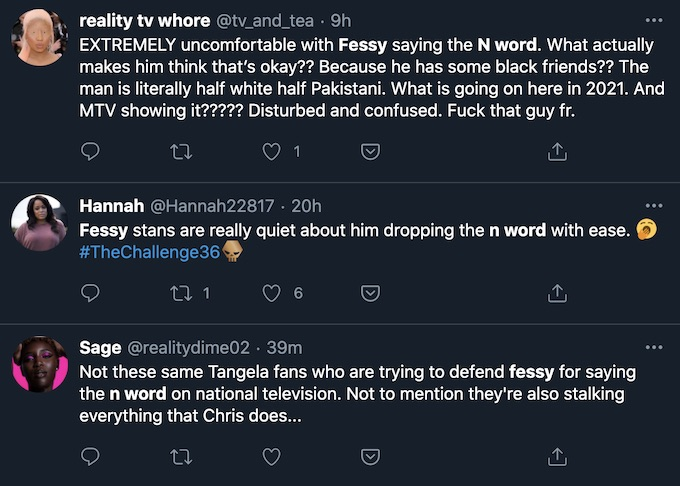 the challenge fans suggest fessy used racial slur episode 7