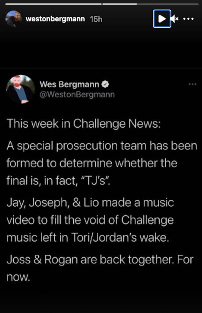 wes bergmann the challenge news updates