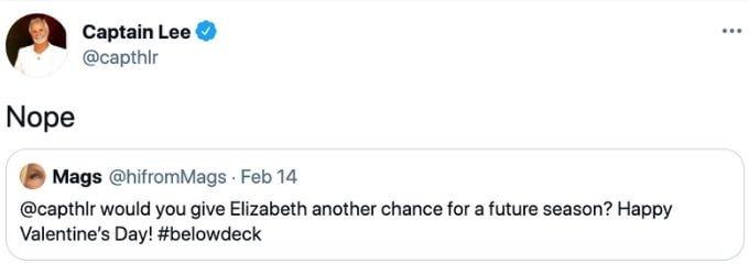 Captain Lee Elizabeth Frankini Tweet