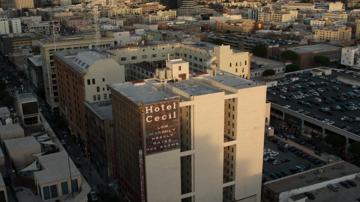 An image of Cecil Hotel and the surrounding area from Crime Scene: The Vanishing at the Cecil Hotel.