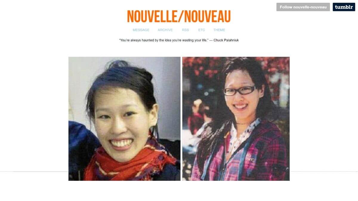 Two images of Elisa Lam edited on the background of her Tumblr page.
