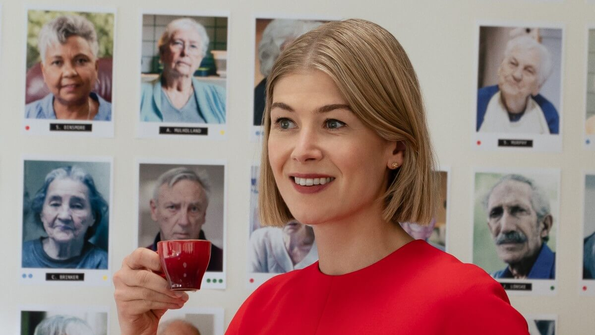 Rosamund Pike as Marla Grayson in I Care a Lot.